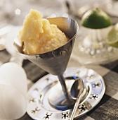 Orange and lime sorbet in ice cream sundae