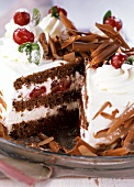 Black Forest cherry gateau with chocolate curls