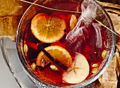 Fruit punch with red wine and Calvados