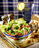 Mixed salad leaves with radishes, walnuts & sprouts