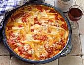 Folded lasagne with ricotta, tomatoes and mozzarella