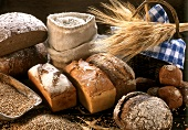 Still life with several types of bread, flour and grains
