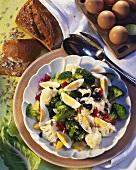 Cauliflower and broccoli salad with egg
