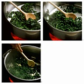 Sweating and stewing spinach