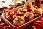 Stuffed tomatoes with olive, feta and bulgur stuffing
