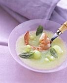 Cold melon soup with shrimps
