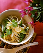 Thai vegetable soup with noodles