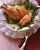 Chicken leg with green vegetables