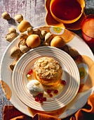 Almond biscuits with apricots and a scoop of almond ice cream