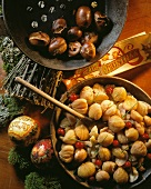 Sweet chestnuts with cranberry sauce & roasted chestnuts