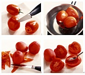 Dropping tomatoes into boiling water, skinning and deseeding