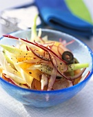 Fennel and onion salad with sliced carrots and radishes