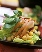 Shrimps mit Kichererbsen und Avocadopüree (Südafrika)