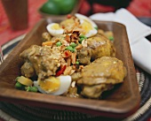 Chicken with peanuts and boiled eggs (Kenya)
