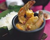 Shrimps in curried pumpkin sauce (Indian)