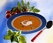 Tomato soup with crème fraiche and basil