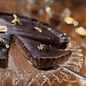 Chocolate tart, one piece on server
