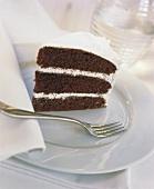 A piece of chocolate sponge gateau with cream filling