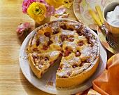 A raspberry cheesecake