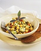 Chick pea salad with sheep's cheese