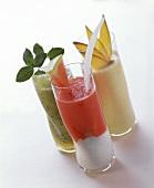 Fruit drinks with kiwi fruit, melon and mango