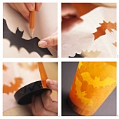 Making bat lanterns as table decorations for Halloween