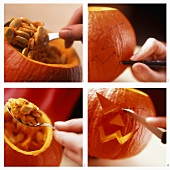 Carving a pumpkin lantern (Jack o' lantern, Halloween)
