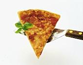 Ein Stück Pizza Margherita auf einem Pfannenheber