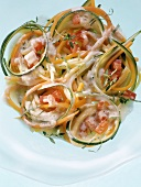 Vegetable spaghetti in thyme butter