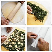 Making pasta roll filled with spinach and Romadur