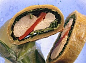 Stuffed chicken breasts in puff pastry and savoy