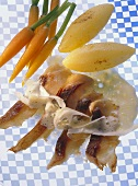 Fried carp fillet with horseradish sauce & vegetables