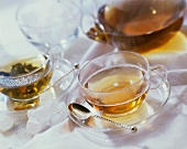 Two cups of tea and glass teapot