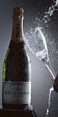 Champagne glass falling on to Moet & Chandon bottle