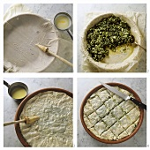 Making Greek spinach pie