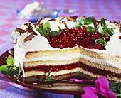 Cranberry cream gateau
