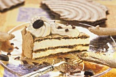 A piece of mocha meringue gateau