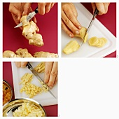 Peeling and dicing ginger root