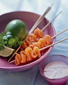Salmon kebabs with lime yoghurt