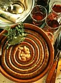 Cassoulet de Toulouse (bean stew with sausage coil)