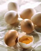 Several hens' eggs, one broken open