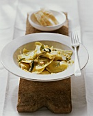 Ravioli with sage and garlic