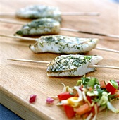 Barbecued pike-perch fillet on skewer