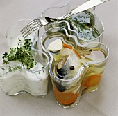 Three sorts of pickled herrings from Sweden