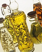 Various types of herb oil and herb vinegar