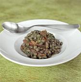 Lentil salad with fish