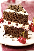 A piece of Black Forest cherry gateau