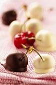 White and dark chocolate cherries