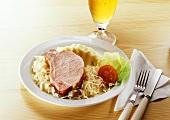 Smoked pork rib (Kassler) with sauerkraut and mashed potato