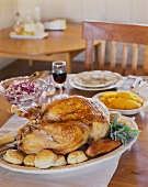 Roast turkey with accompaniments for Thanksgiving